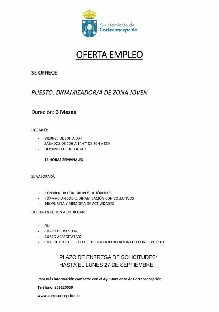 OFERTA DE EMPLEO: DINAMIZADO/A DE ZONA JOVEN