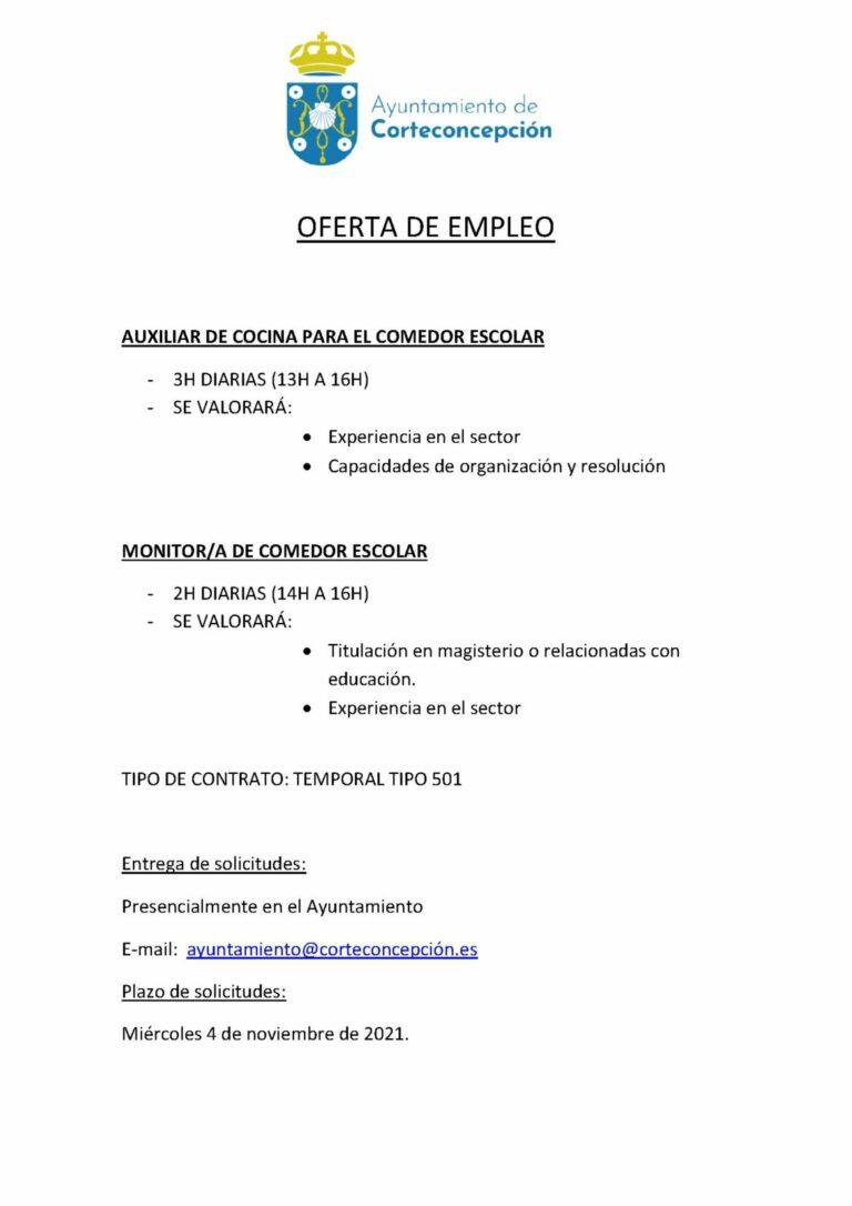 OFERTA DE EMPLEO: AUXILIAR DE COCINA Y MONITOR/A DE COMEDOR ESCOLAR